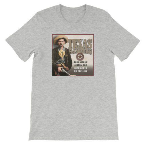 Texas Rangers-Hard Men in a Hard Job T-Shirt, Athletic Gray