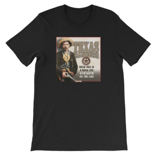Texas Rangers-Hard Men in a Hard Job T-Shirt, Black